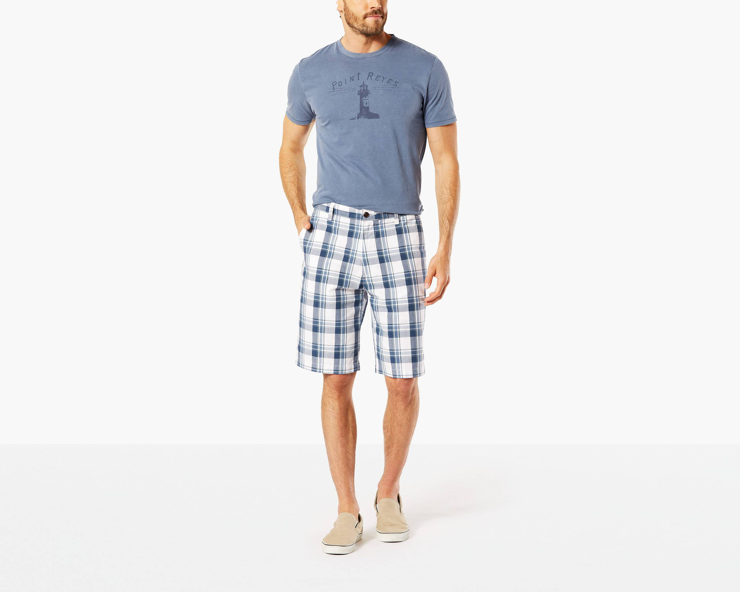 The Perfect Short, Classic Fit | WHITE/BLUE PLAID | Dockers ...