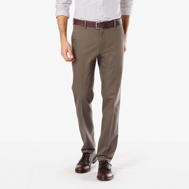 Signature stretch khaki slim tapered fit dark pebble for Dockers wrinkle free shirts