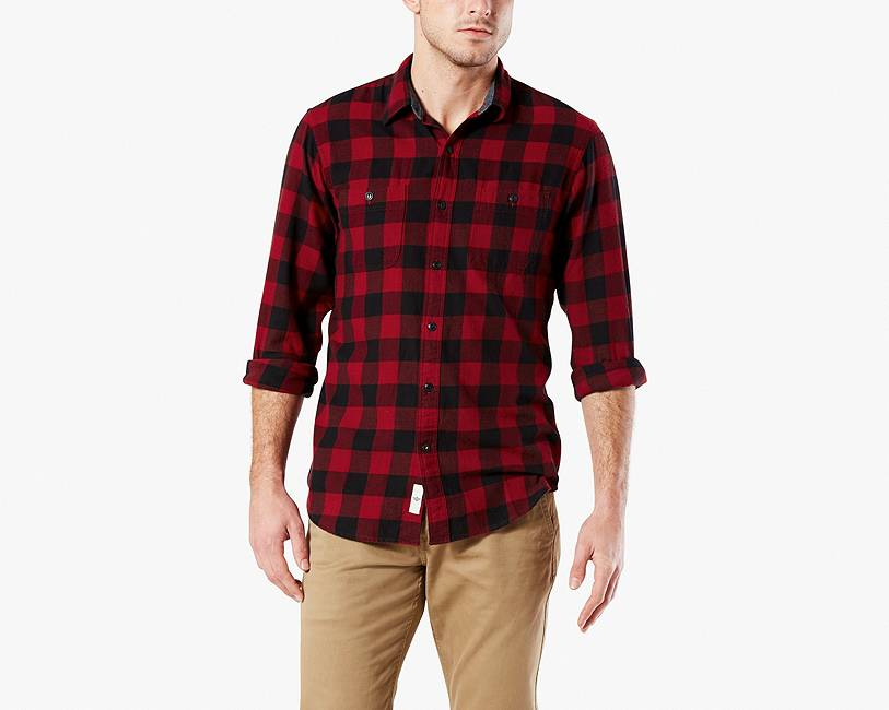 FLANNEL SHIRT, STANDARD FIT | BLACK/RED PLAID | Dockers® United ...