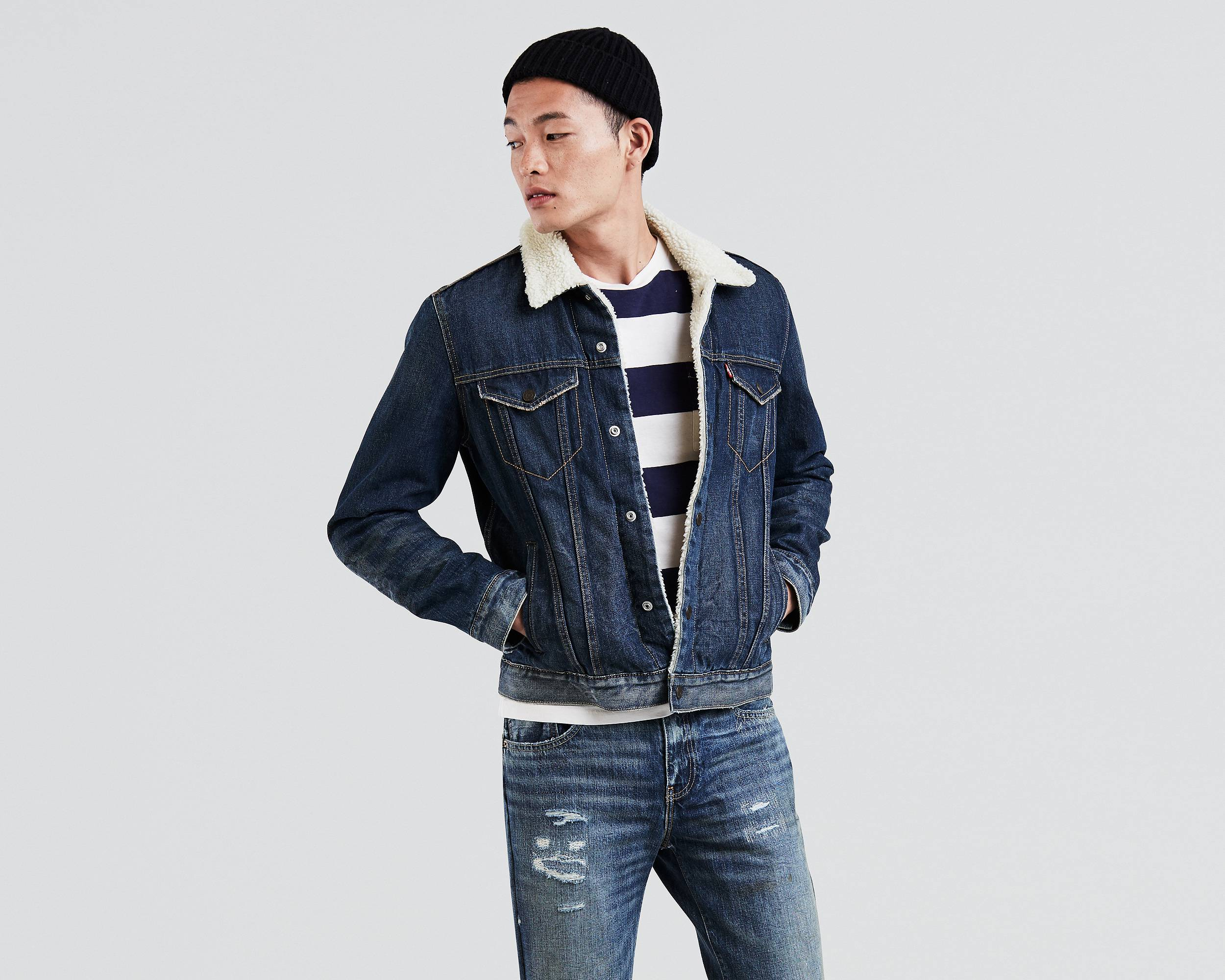 the sherpa trucker jacket lucky town levi s united states us #0: front pdp 2500x2000